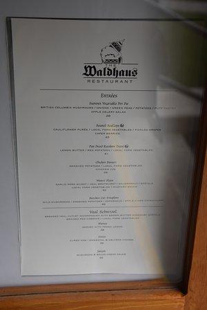 Waldhaus Restaurant: Speisekarte