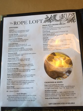 The Rope Loft : menu