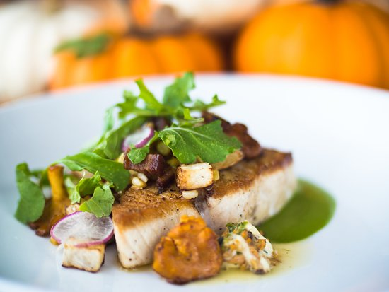 Johnson City, TN : Swordfish, local vegetables, and foraged mushrooms.