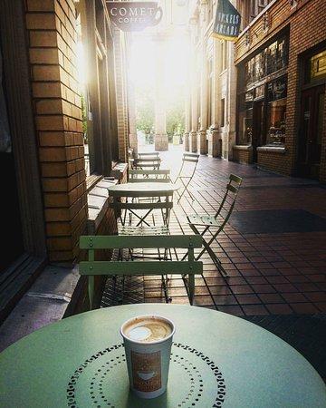 Comet Coffee: Patio seating in Ann Arbor's historic Nickels Arcade.
