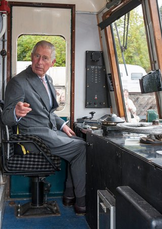 Wirksworth, UK: HRH prince Charles takes the controls of the award winning class 119 DMU