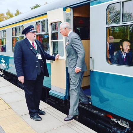 Wirksworth, UK: HRH Prince Charles says goodbye to Royal Guard Tom Tait at Duffield Station