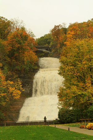 Montour Falls, NY: Fall foliage at the Falls