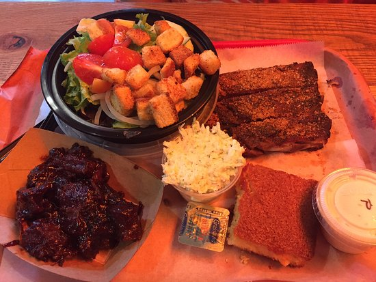 Black Hog BBQ: Ribs and brisket, house salad, coleslaw and corn bread