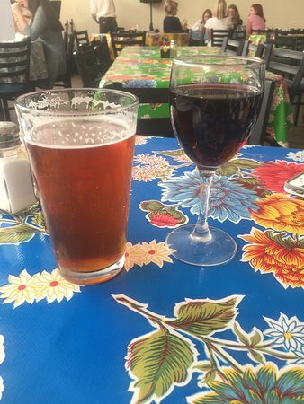 Real Ale Oktoberfest and a glass of red while waiting for our blanco burgers
