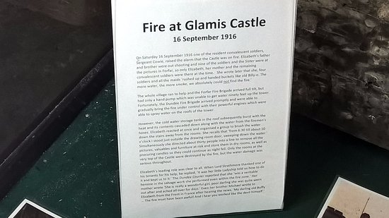Glamis, UK: details of fire