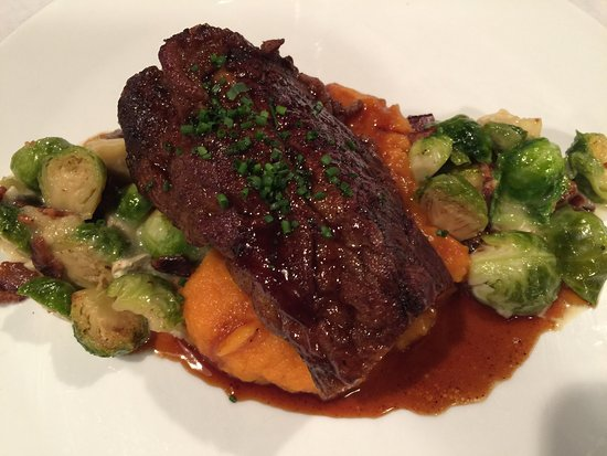 Greenwood, IN: Short ribs with sweet potato purée and bacon Brussels
