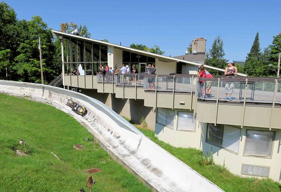 Bobsled and Luge Complex : Chalet and wheeled bobsled on the old track