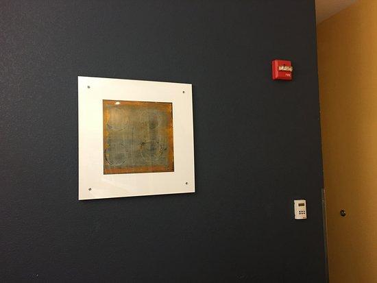 Kearney, NE: modern style art print on dark blue accent wall