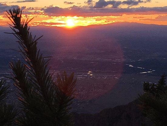 Sandia Peak Tramway: Sun setting over Albuquerque from Sandia Peak.