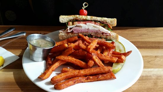 Independence, MO: The full Monte Cristo Sandwich ( Lunch Portion ), with sweet potato fries, and an apple sauce mi