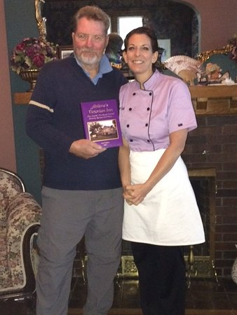 Abilene's Victorian Inn Bed & Breakfast: The Author & Adrian with her cookbook, which I purchased