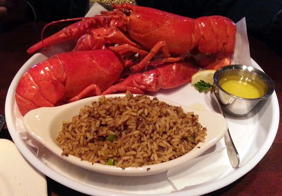 Westmont, IL: the finale - two 1 lb. lobster tails with dirty rice & melted butter