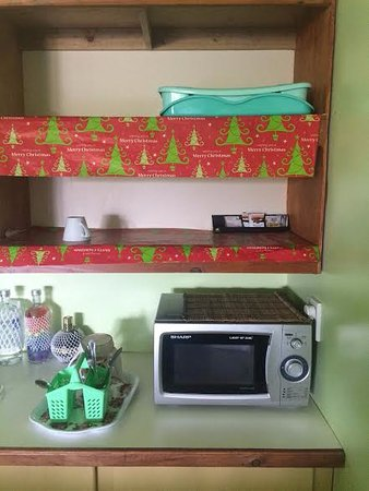 Upolu, Samoa: Microwave contained old food from previous people, only 1 cup, old xmas paper covering shelves.