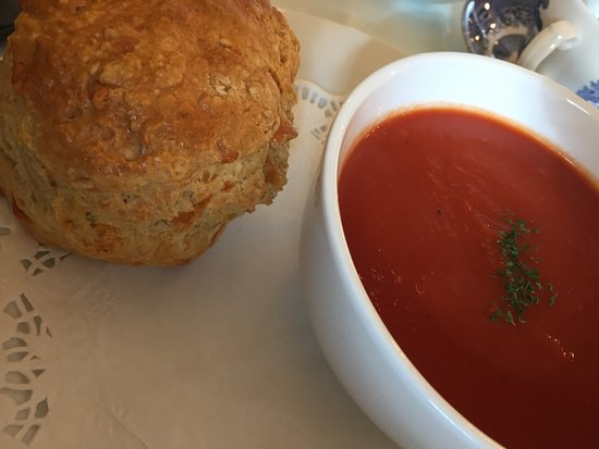 Soup and a scone! Best peppermint tea ever!