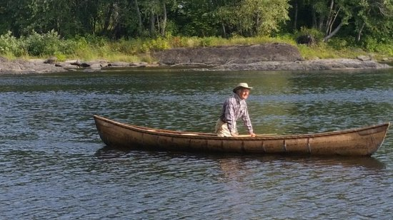 Newry, ME: Dr. Paul Wood takes the birch bark canoe out for a spin