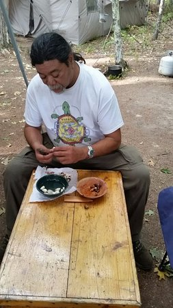 Newry, ME: Jim Pardilla prepares some gound nuts that we harvested on the Island