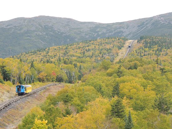 Bretton Woods, NH : Look carefully and you can see two trains climbing the hill