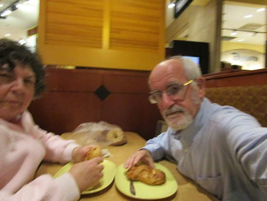 Seekonk, MA: Louis and I eating our bagels.