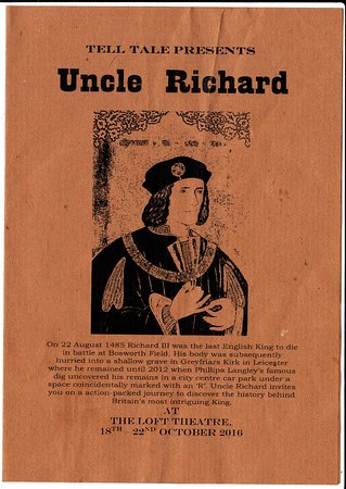"""Loft Theatre: Programme for """"Uncle Richard"""" by Tell Tale Presents on 21st October 2016"""