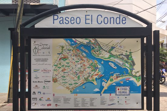 Tourist Sign and Map Picture of Calle El Conde Santo Domingo