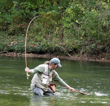 Lebanon, MO: Trout on a 100+ year old bamboo fly rod.