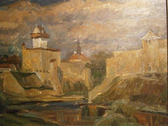 Ida-Viru County, Estonia: Målning i konstutställningssalen på vasallslottet.