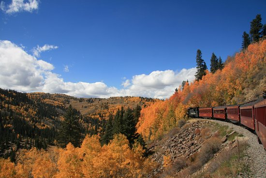 Cumbres & Toltec Scenic Railroad: Picture of the train along the fall scenery.