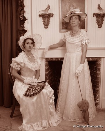 Vintage Photography Emporium: Our Formal Stage, Equipped With Antique  Fireplace And Victorian Parlor Chairs