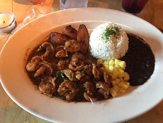 The Cheesecake Factory: Jamaican Black Pepper Shrimp with Plantain, Black Beans and Basmati Rice