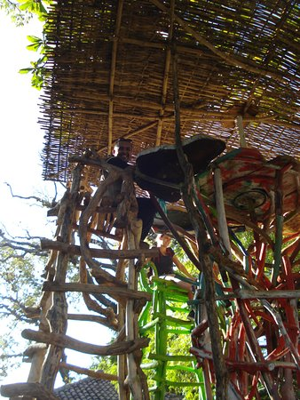 Masaya, Nicaragua: Nelson up in a 10' tall chair outside the market