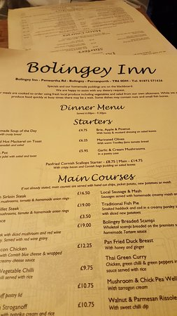 Bolingey, UK: The menu- sorry it is slightly out of focus since not much room to move