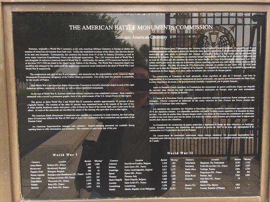 Suresnes American Cemetery and Memorial: Placard to Suresnes American Cemetery