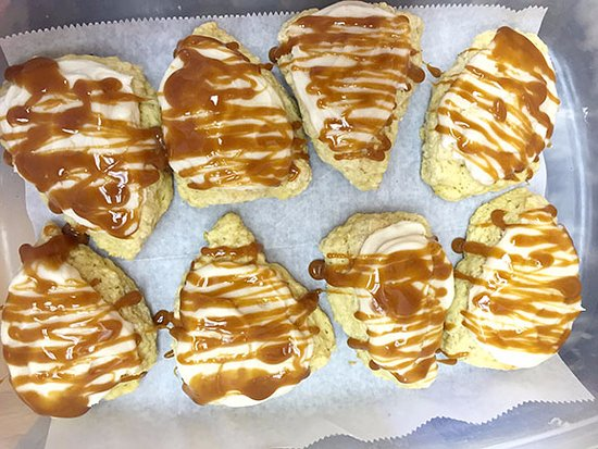 Marion, IA: Caramel apple scones, locally sourced apples . . . one of the many fabulous flavors we offer . .