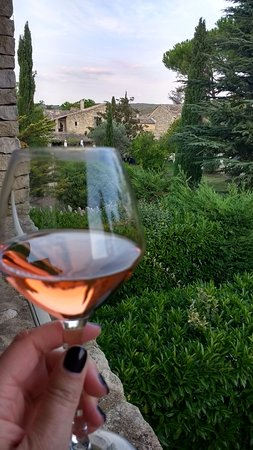 Menerbes, França: View from my balcony, with a wonderful glass of Rose!