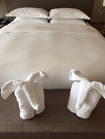 Haikou, China: Elephant-towels in front of bed