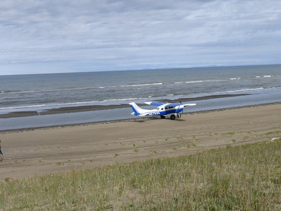 Nome, AK: Our plane on beach by the Bering Sea