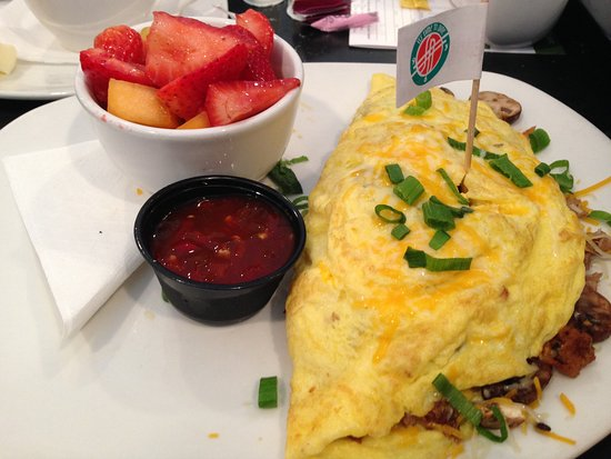 Greenbelt, MD: Philly Steak omlette with fresh fruit