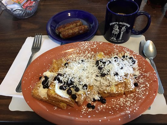 South Dennis, MA: Stuffed French toast with coconut, blueberries and sausage with coffee