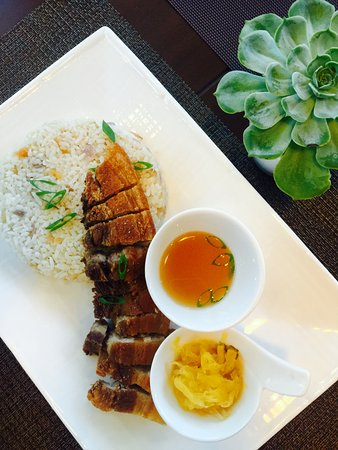 Lechon kawali with arroz balao rice.