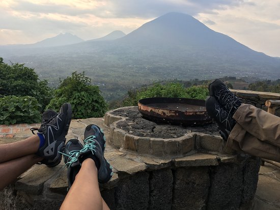 Virunga Lodge: View from seating deck outside main living room