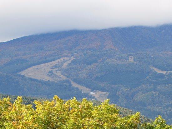Shinano-machi, Japón: ほテル前から靄のかかった妙高山