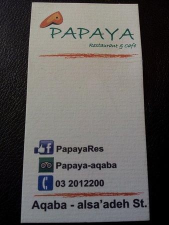 Papaya Restaurant Cafe Carte De Visite Du