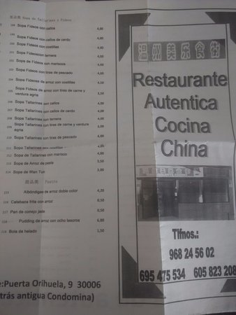Carta Picture Of Restaurante Chino Wen Zhou Murcia Tripadvisor