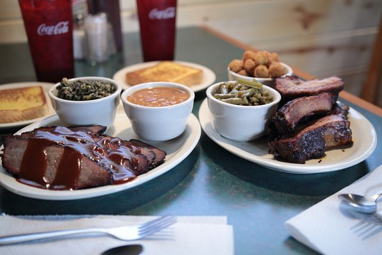 Purcell, OK: Bisket Dinner with Collard Green and Baked Beans and Rib Dinner with Green Beans and Fried Okra.