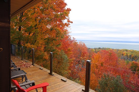 Charlevoix, Canada: Vue du balcon de la villa la canadienne