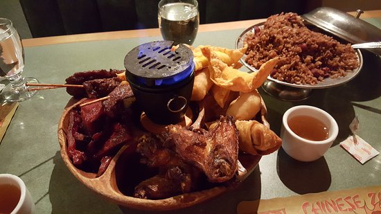 Merrimack, NH: pu. pu. platter for 2 feeds 4 fantastic.contains crab Rangoon, Chinese spare ribs, fried chicken