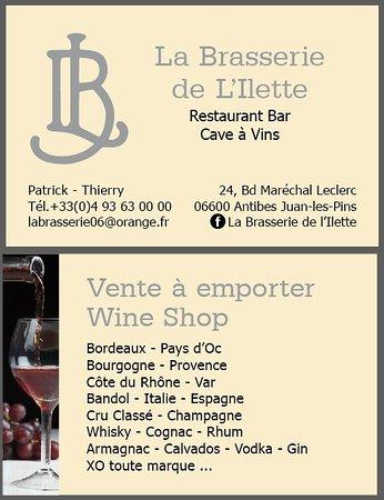 La Brasserie De LIlette Carte Visite