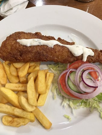 Livingston, UK: Over fried piece of Fish