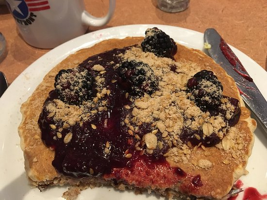 Menomonie, WI: We had breakfast at Denny's. I had blackberry pancake with whole wheat flour and flax were good.